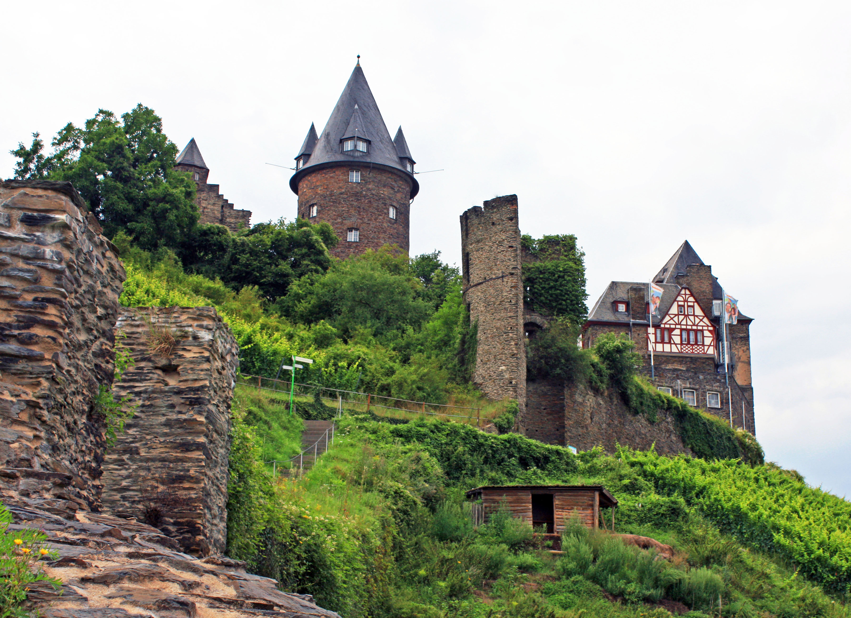 Stahleck Castle, a medieval towering fortress.