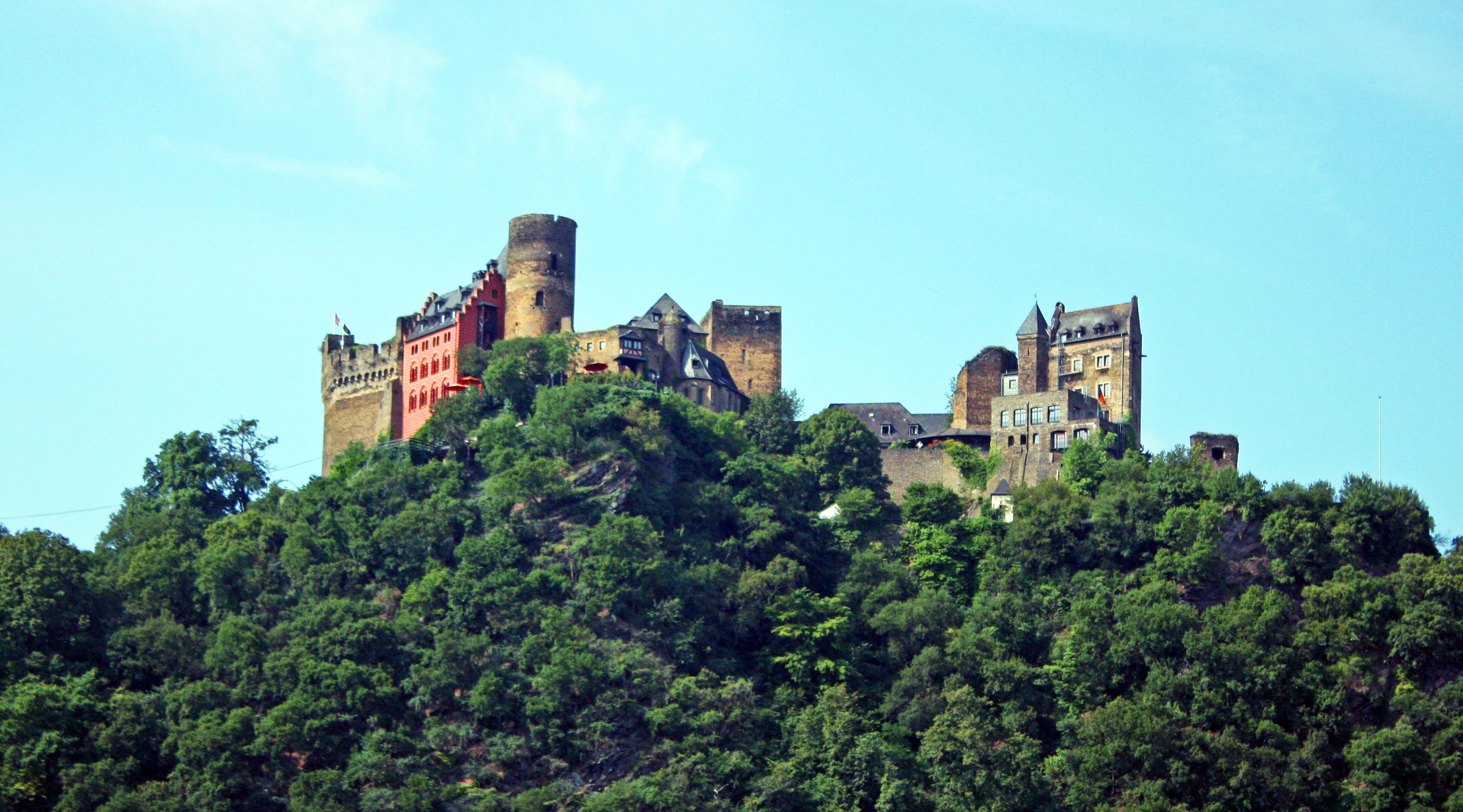 Schönburg Castle built in 1149, towers majestically over the Rhine.