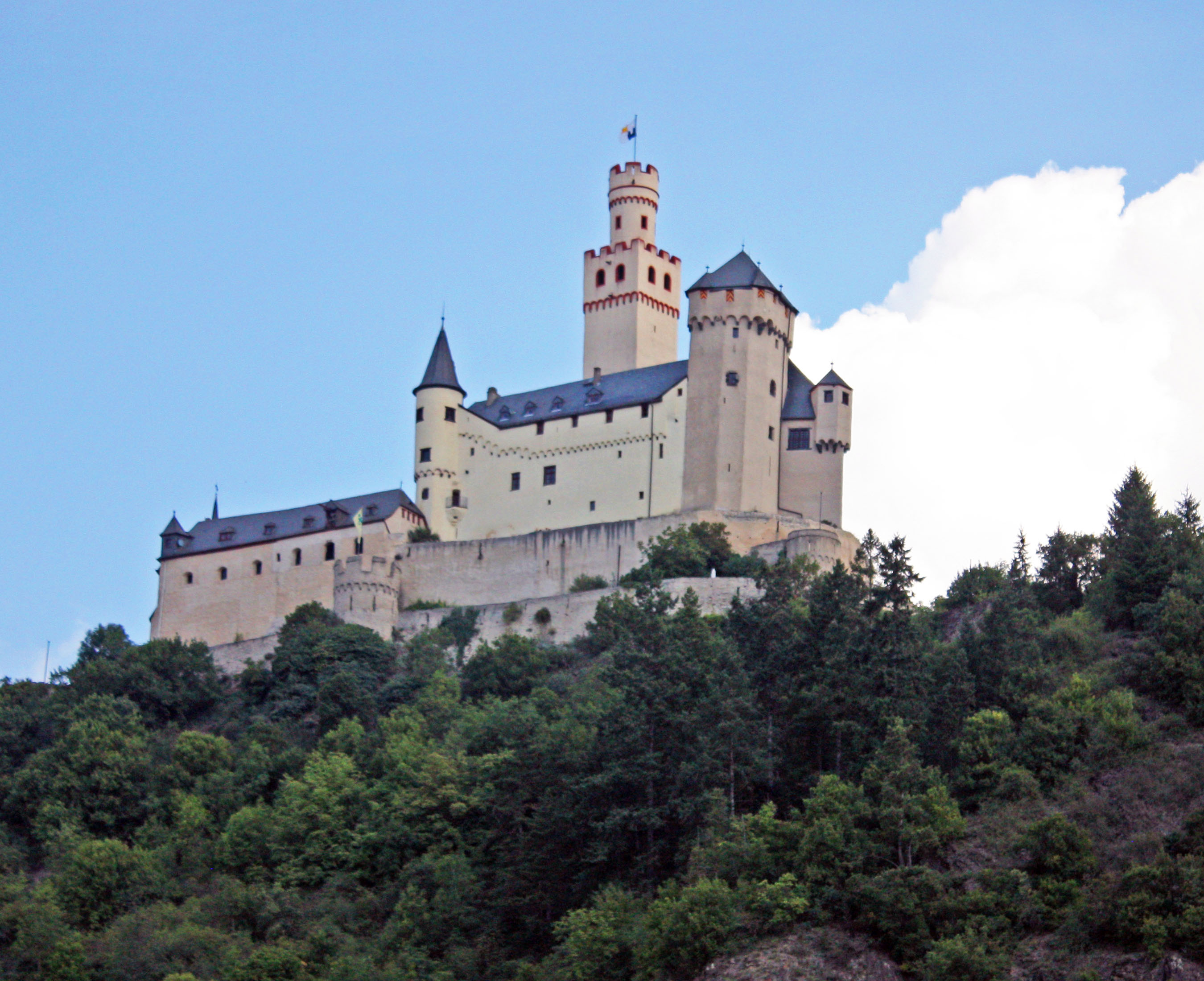 A view of Marksburg Castle from the Rhine River.