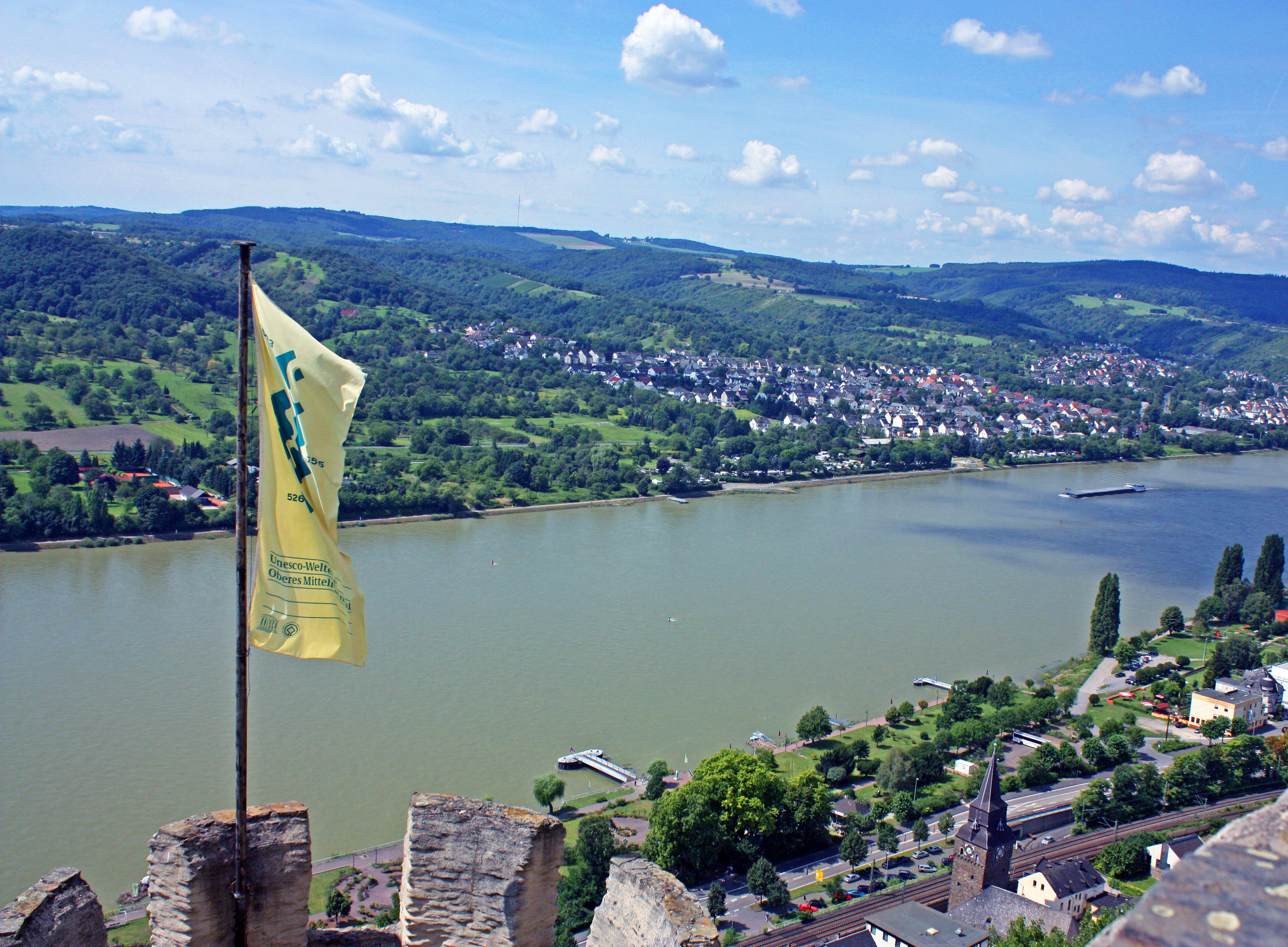 A Rhine River view from Marksburg Castle.