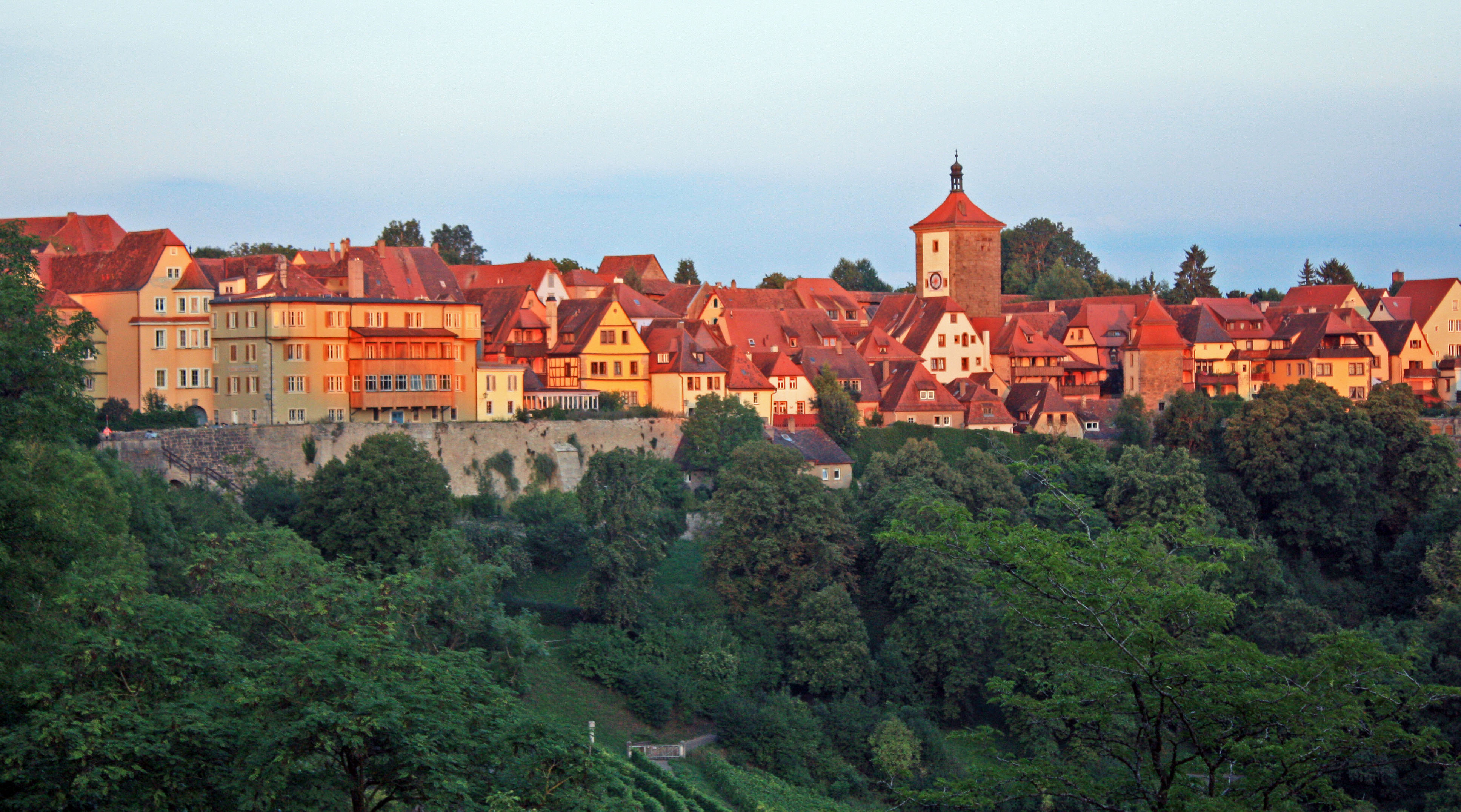 The sun setting over Rothenburg.