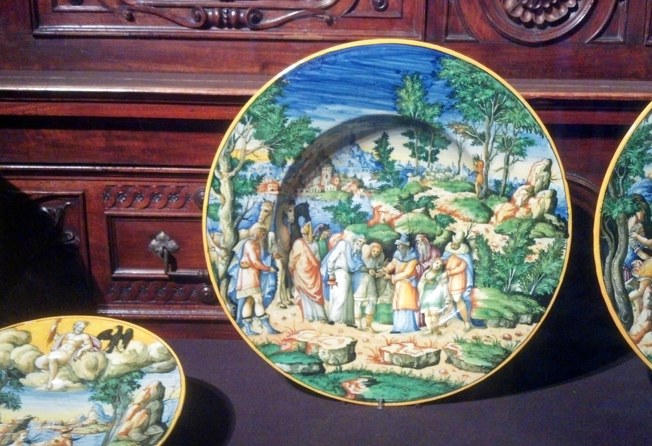 Part of an antique plate collection.