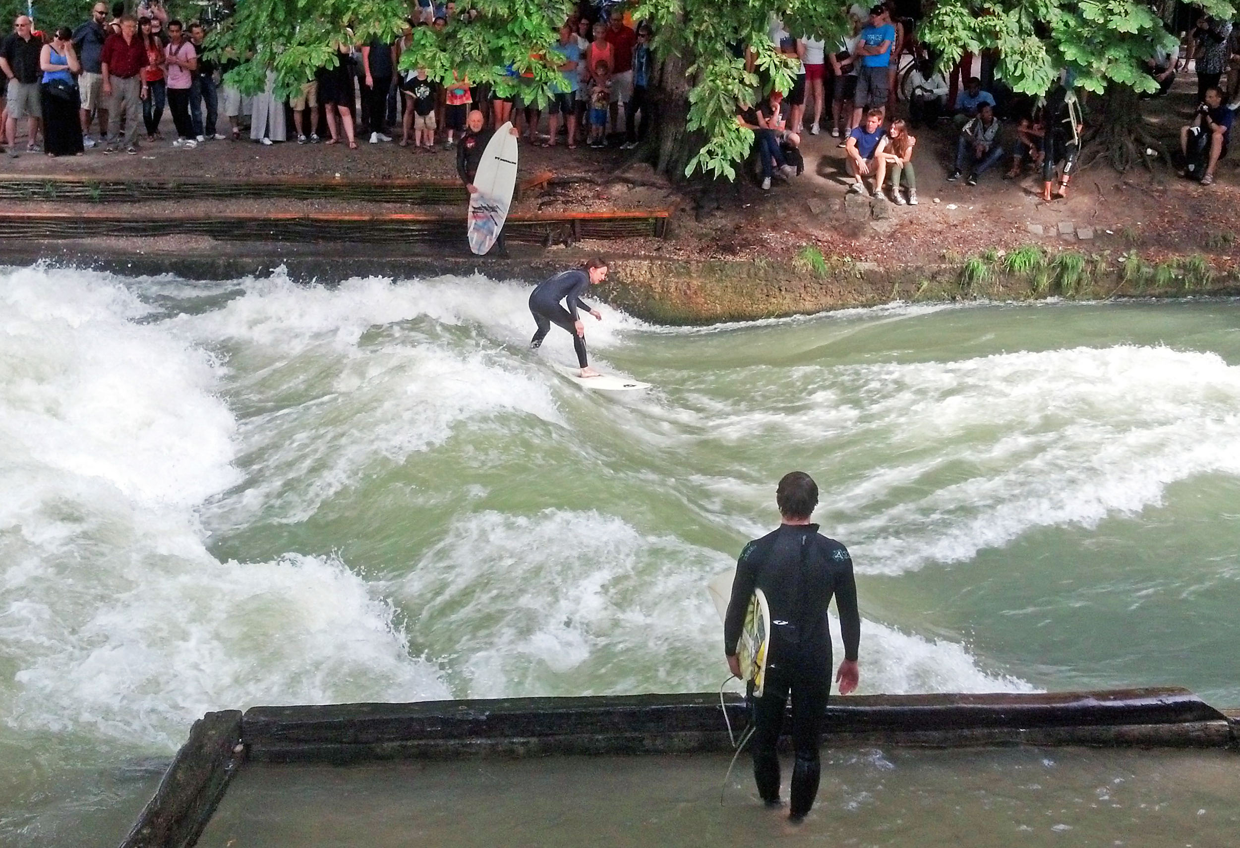 River surfing on the  Eisbach River. Hang Ten?