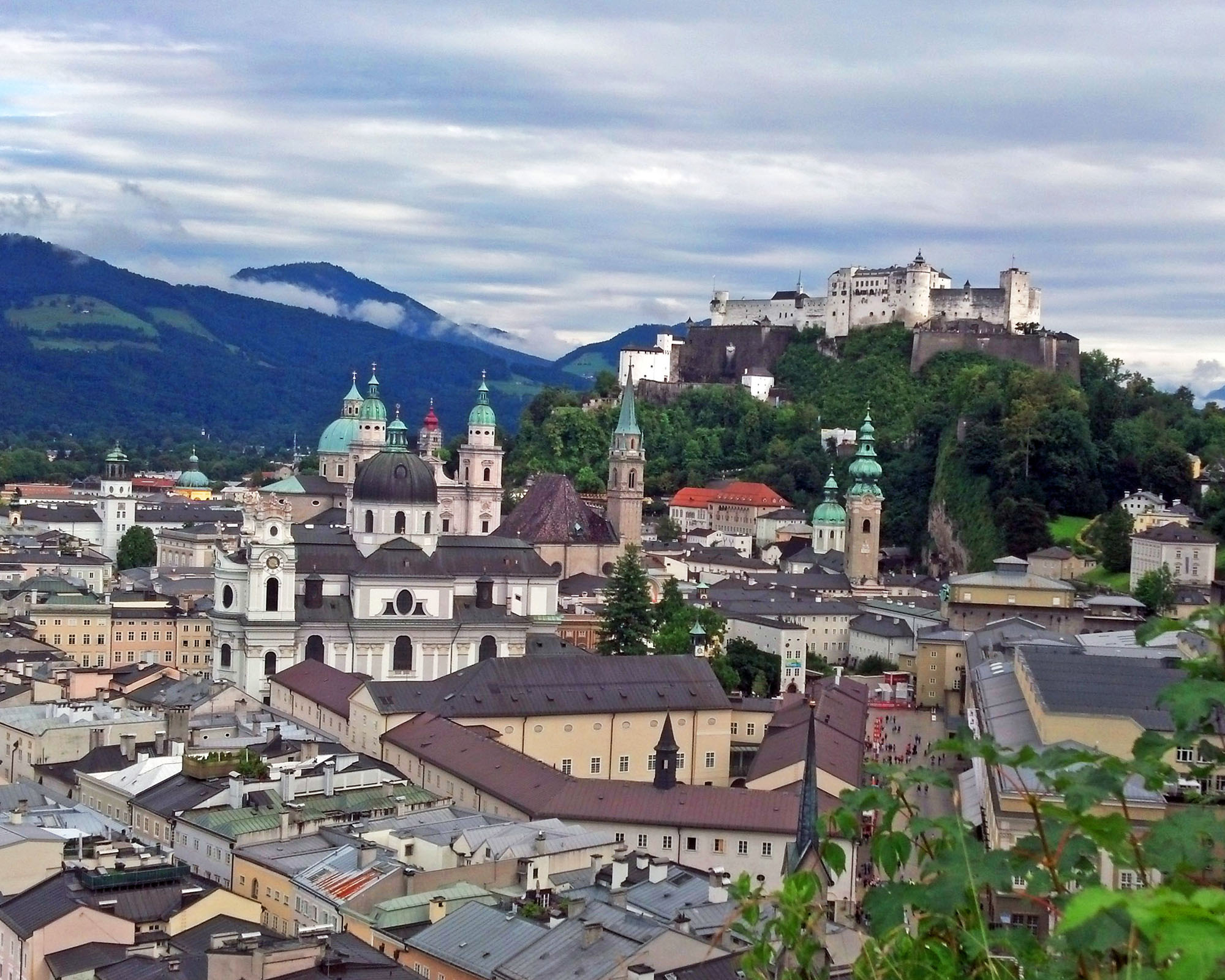 A view of Salzburg from Monchsberg Mountain.