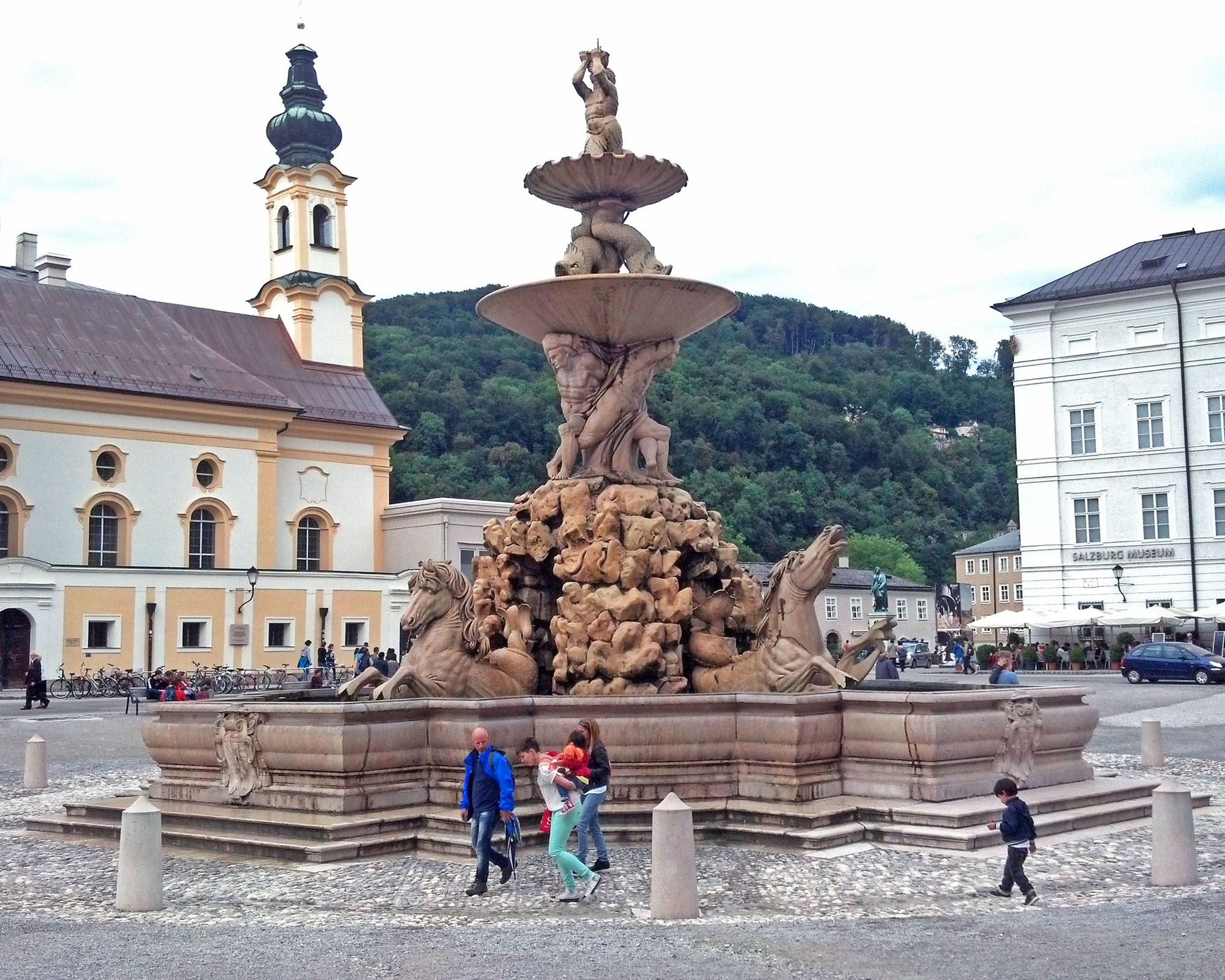 Residence Square with its ornate fountain.