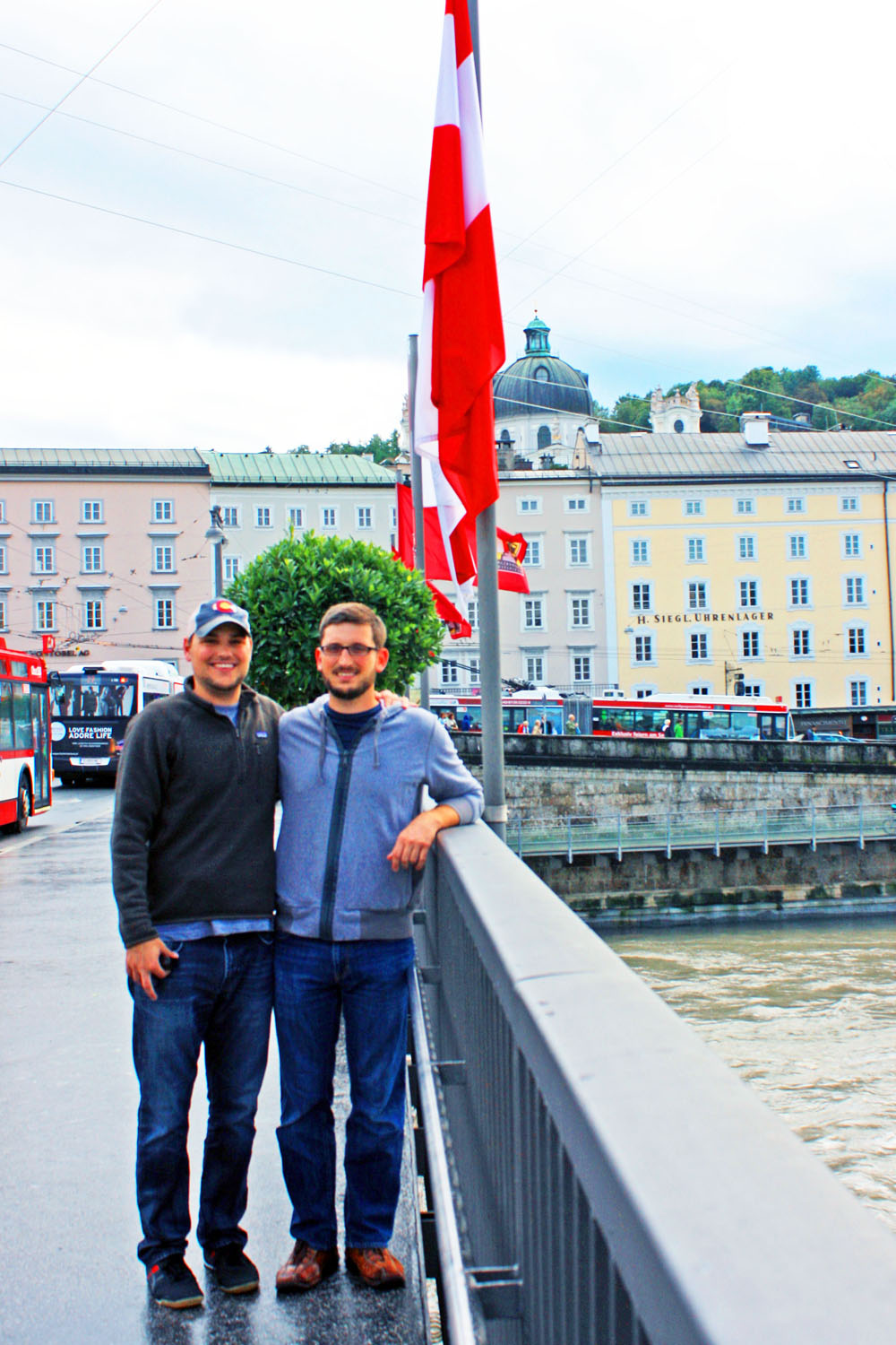 Dan and Kevin strike a pose on a bridge over the Salzach River.