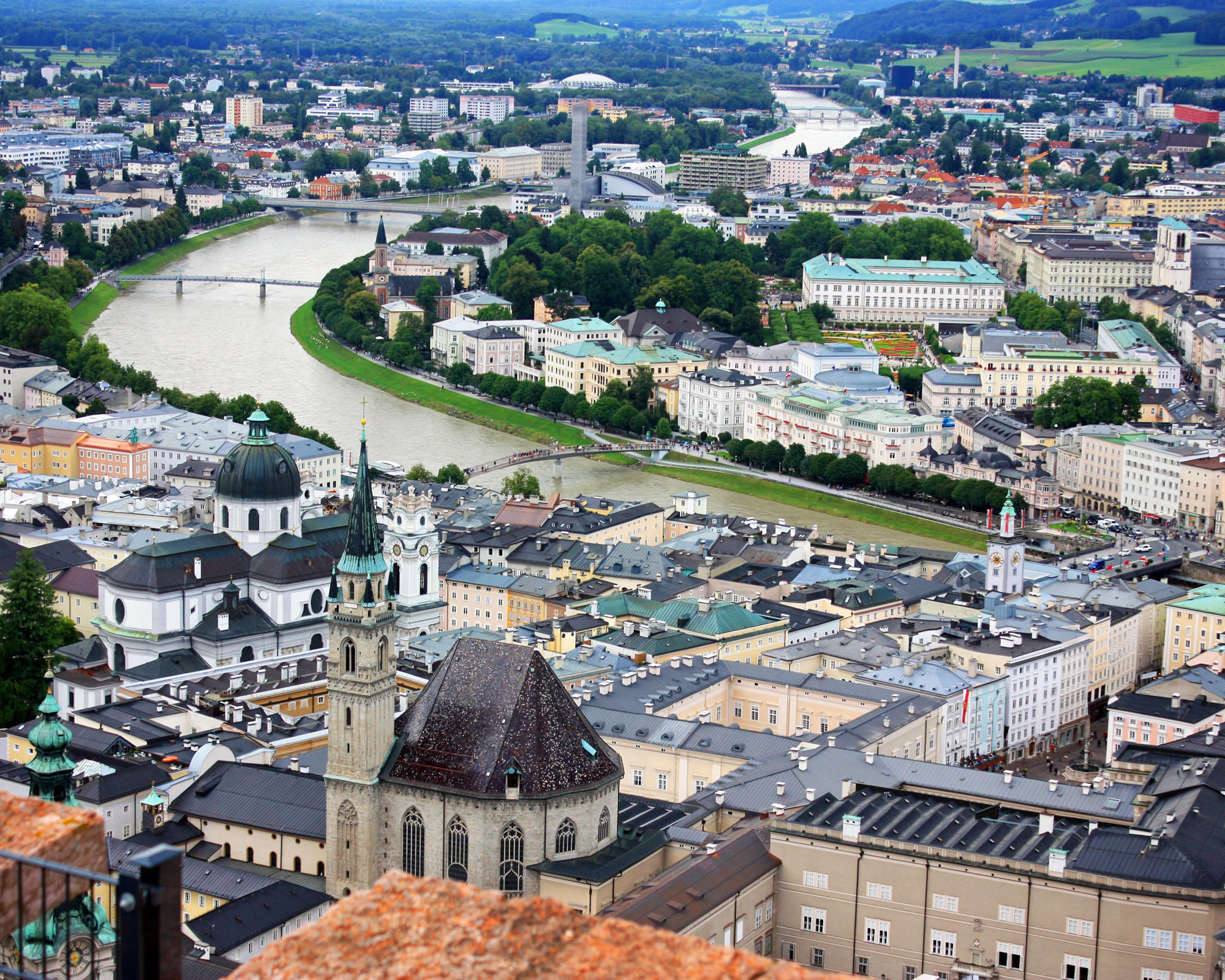 City of Salzburg viewed from the fortress tower.