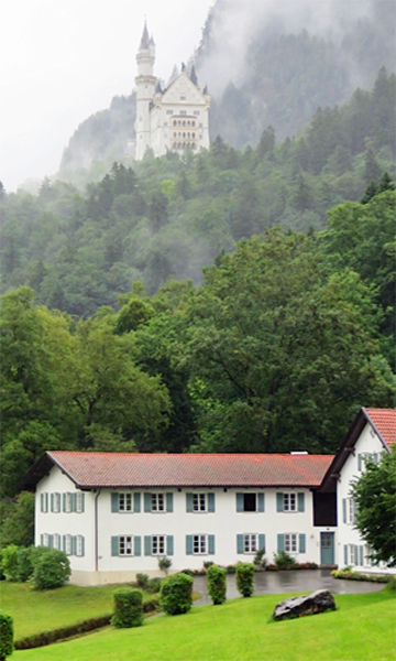 A roadside view of Neuschwanstein Castle.