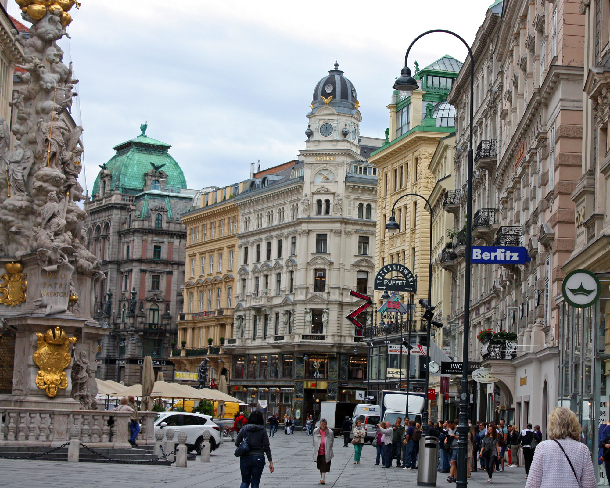 The bustling streets of Vienna city center.