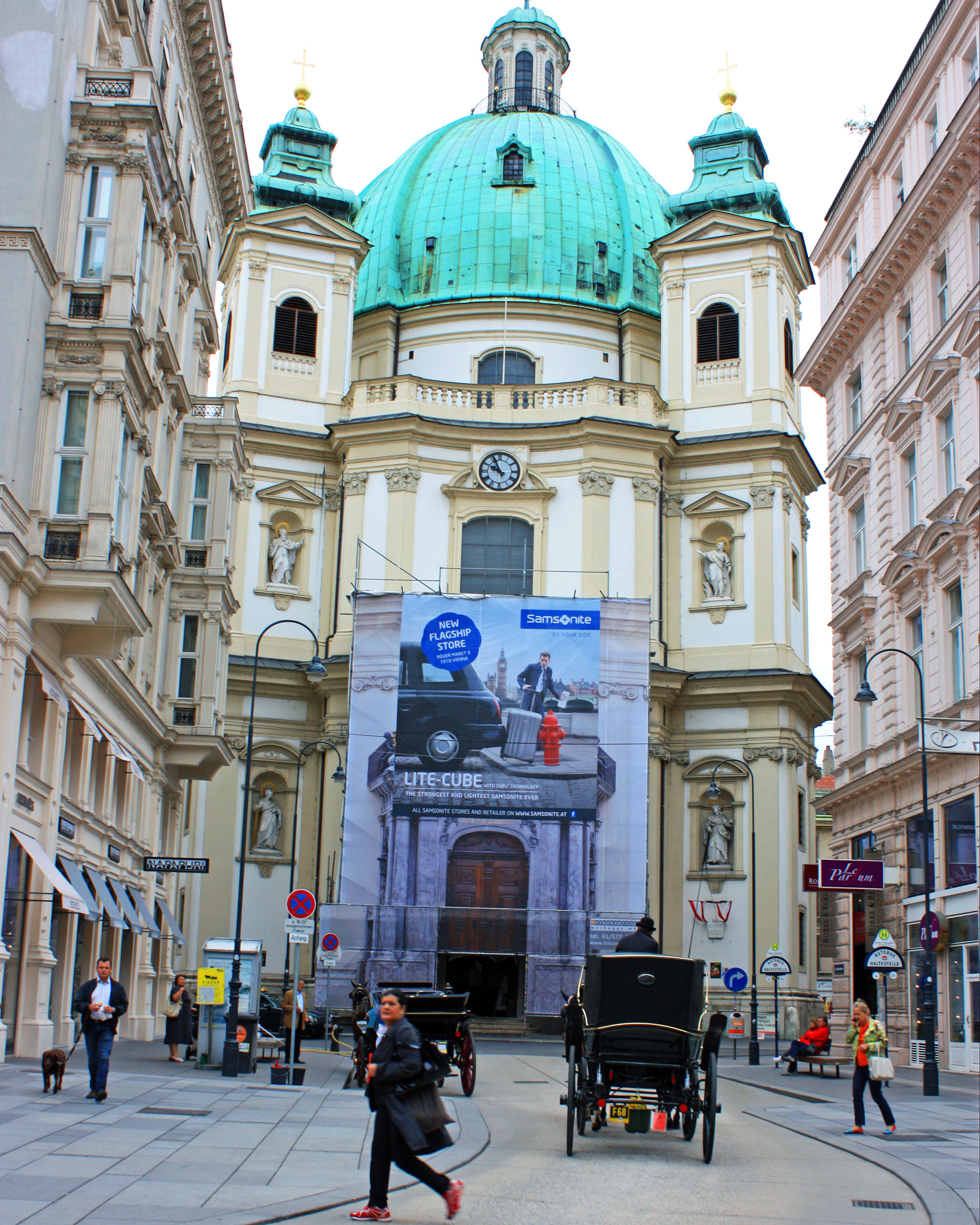 Looking down Graben Street toward St. Peter's Church.