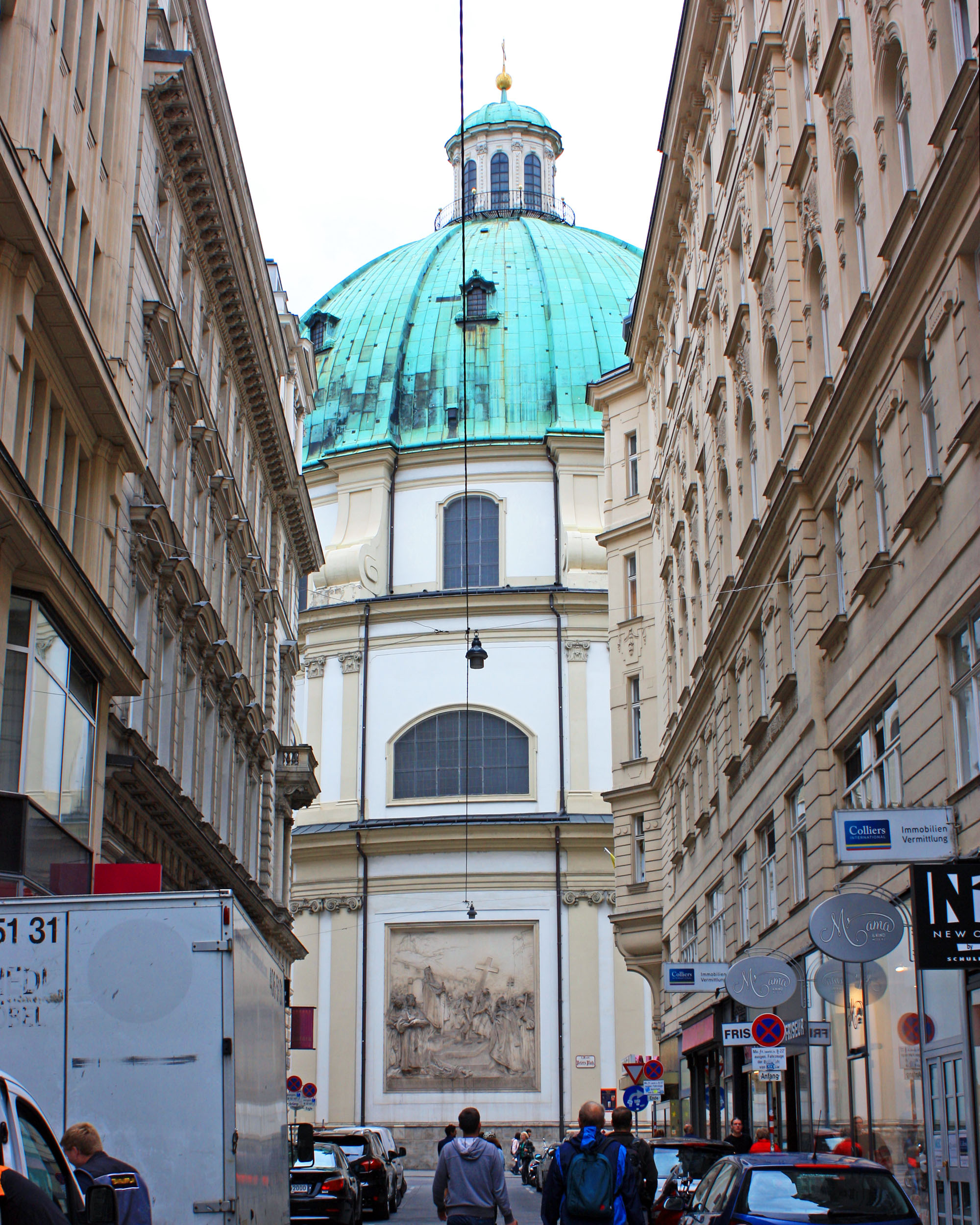 Vienna city center with St. Peter's Church.